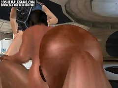 3D ebony shemale babe gets an interracial double teaming