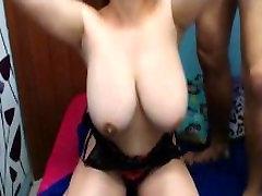Horny natural boobs couple make big tits bounce