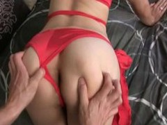 Amateur Tgirl Analed and Jizzed by BF!