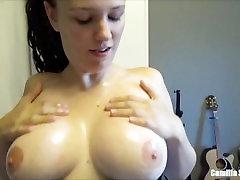 Brunette Big Tits Young MILF Oil Overload, Blowjob, Titfuck & Cum play