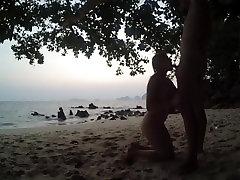 blowjob & handjob after sunset on public beach russian teen make horny guy
