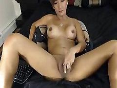 German Brunette Shemale Jerks her Hard Cock
