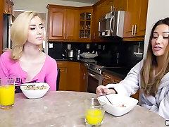 Beautiful Haley Reed and Eva Lovia pussy hammering threesome