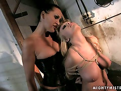 Roped and restrained blonde harlot moans with pain