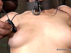 Asian brunette tramp Marica Hase gets her nipples pinned