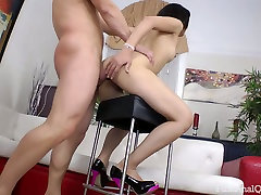 Brunette sweetie with puffy nipples Anita Burma ass fucked by her coed