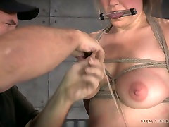 Rope bondaged busty blondie Winnie Rider adores hard BDSM sessions