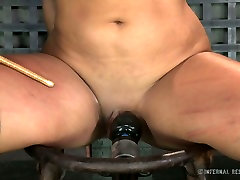Tightly bound brunette cutie Penny Barber feels pain having hard BDSM sex with her guy