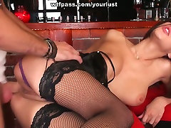 Spicy hot brunette in black stockings gets pounded from behind