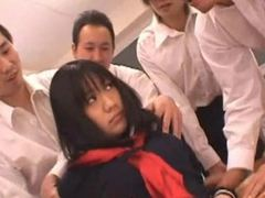 Groupsex with a shy Asian schoolgirl