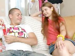 Amazing russian coed anal sex on a sofa