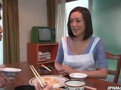 Asian mature slut gets horny talking