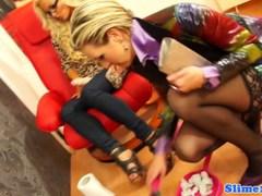 Strapon lesbian dominated at the gloryhole