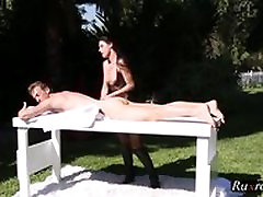 MILF India Summer creampied on the milking table HD