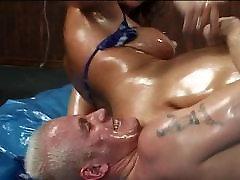 Brunette big tits pussy oil fetish fuck
