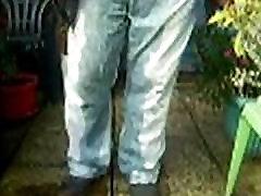 Pissing in my jeans in garden