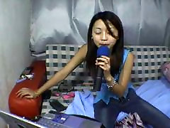 Asian teen stripping on webcam