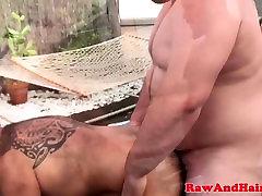 Superchub bear barebacking black ass in trio