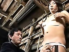Kinky Asian crossdresser gets his dick stroked and his ball