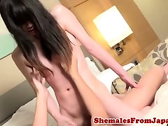 Ladyboy amateur assfucked after jerking