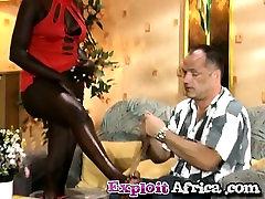Interracial slutty ebony teen footjob nylon