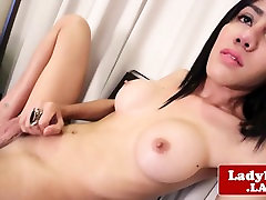 Bigtitted ladyboy pulling her cock until cum