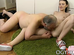 Delightsome young babe gets impaled on cock of an old dude