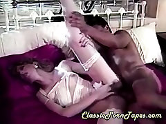 Hairy babe in stockings fucked