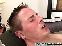 Solo gay stud sprays cum