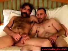 Bluecollar gay bear sucks hard cock
