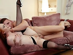 Gorgeous Redhead Fucked in Black Stockings