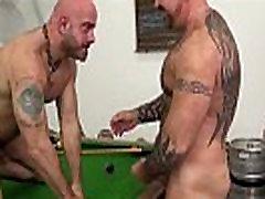 Tattooed bear rims tight ass before facial