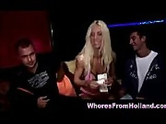 Movie showing amateurs in group sex with a real mature Dutch hooker for cash