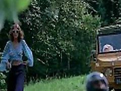 Skinny beauty fucked on running motorcycle in retro porn movie