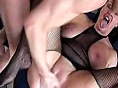 Fishnet whore squirts while fingered