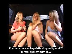 Lesbian threesome sex orgy with licking and toying pussy in the car
