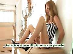 Wendy tender busty blonde teenage masturbating and using a cucumber