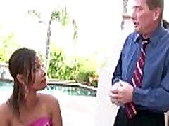 Hot ebony babe Jorani James gets a hardcore interracial with her stepdad