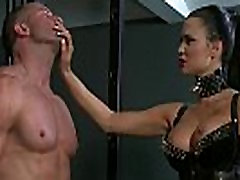 Male sub fucks his busty mistress in lingerie