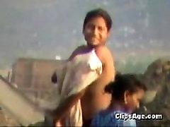 girl bath in open desi farm