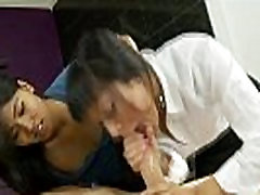 Real asian mom and offspring give blowjob