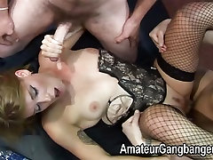 A small mature redhead goes wild when being fucked
