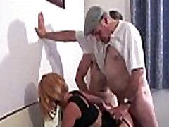 Voyeur Papy fucks nymph in threesome