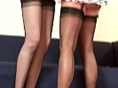 Mature stockings with amateur lesbian licking tight pussy