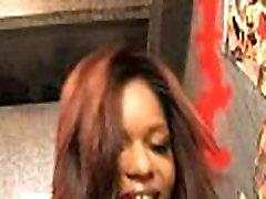Ebony Hottie Swallows Massive Cock Gloryhole 16