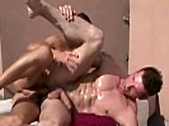 Horny musclar hunk getting barebacked on a balcony