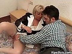 Short haired mature slut sucks his mans