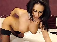 Beautiful brunette LindaClara in black stockings