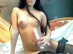 Russian brunette AlisaElita , in black stockings, play with dildo