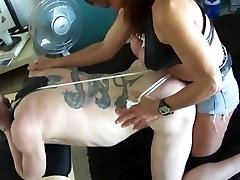 Submissive male bent over for hard spanking